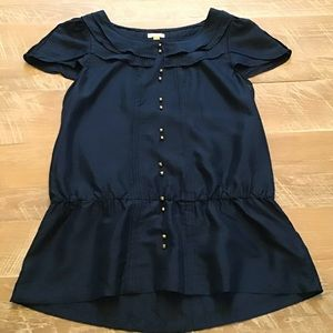 Anthropologie Short Sleeve Navy Blouse